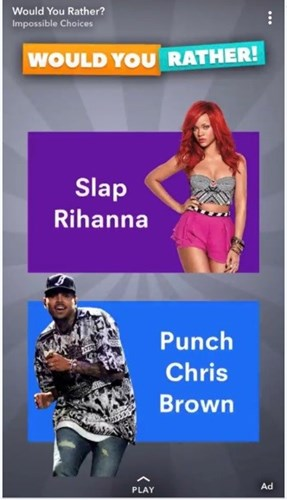 Snapchat blunder showing rhianna and chris brown